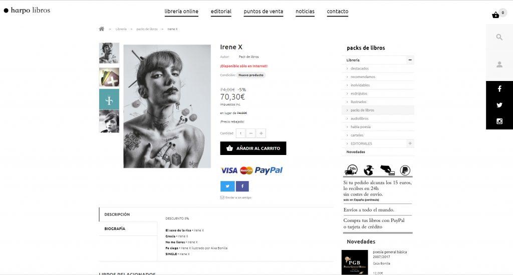 Fotografía editorial de Irene X para venta on line del libro y eCommerce de la editorial Harpo Libros.