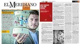 Fotografías promocionales del escritor argentino Guillermo Roz en la portada y en la entrevista de El Meridiano Cultural (Colombia).